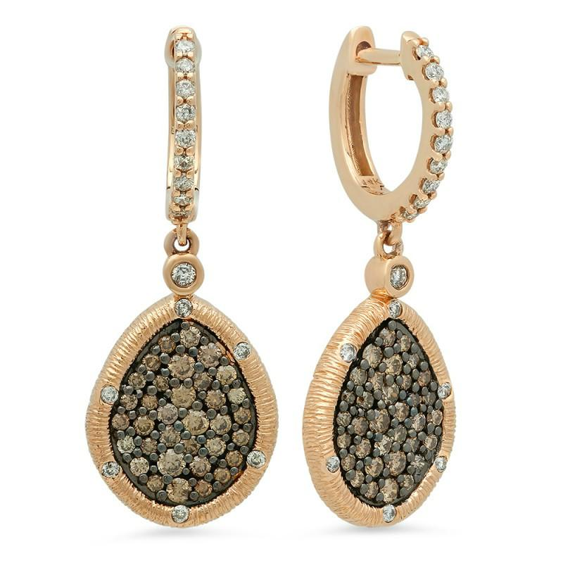Chocolate Diamond & White Diamond Earrings