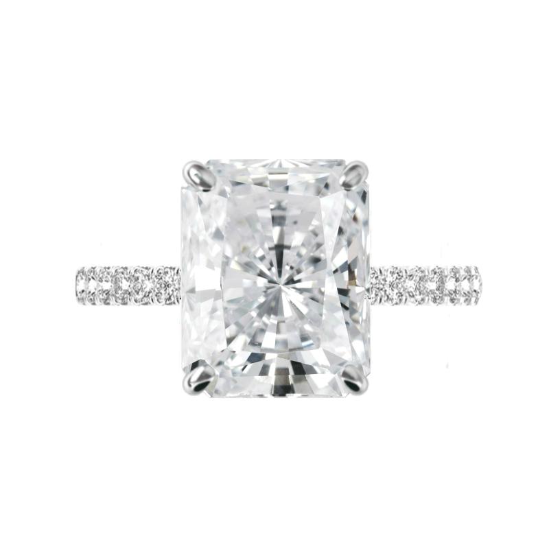 7 Carat Radiant Moissanite & 2mm Diamond Pave Ring