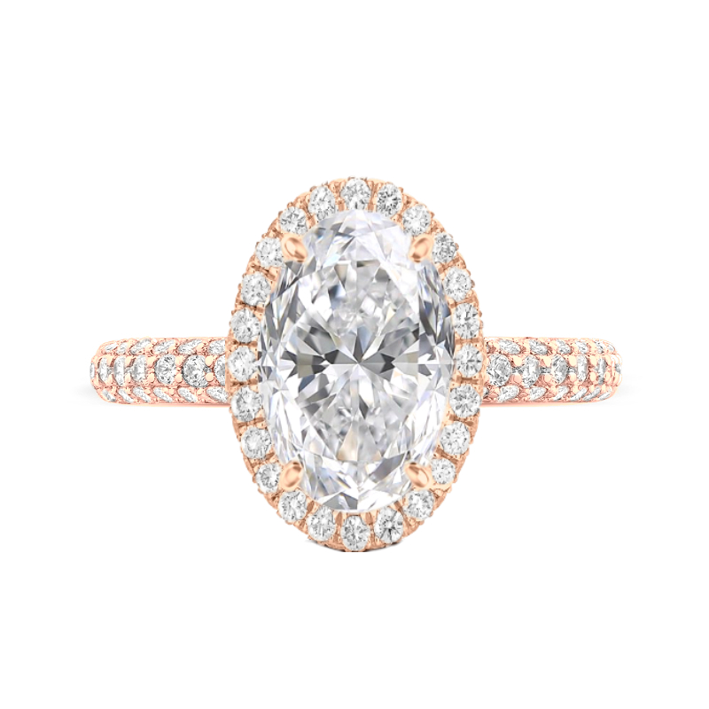 4.70 Carat Oval Moissanite & Diamond Double Edge Halo Three Row Pave Ring