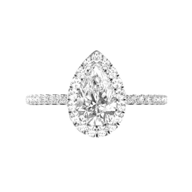 3.60 Carat Pear Moissanite & Diamond Double Edge Halo Ring