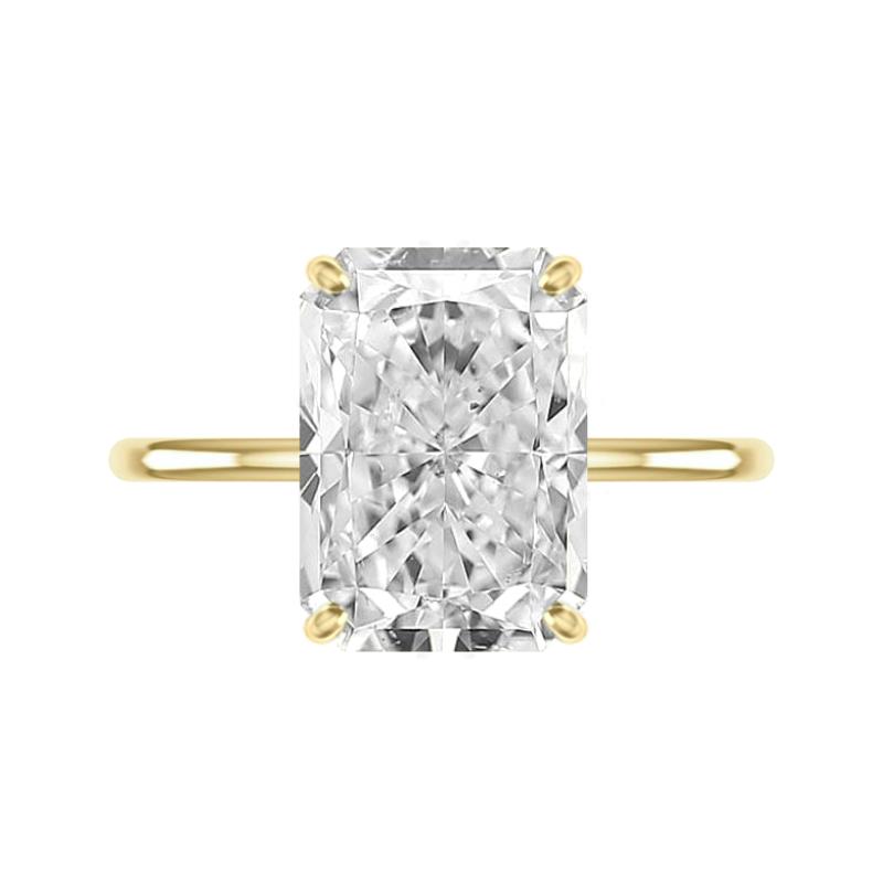 6 Carat Radiant Moissanite & Diamond Hidden Halo Solitaire