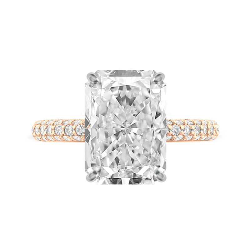 6 Carat Radiant Moissanite & Diamond Three Row Pave Ring