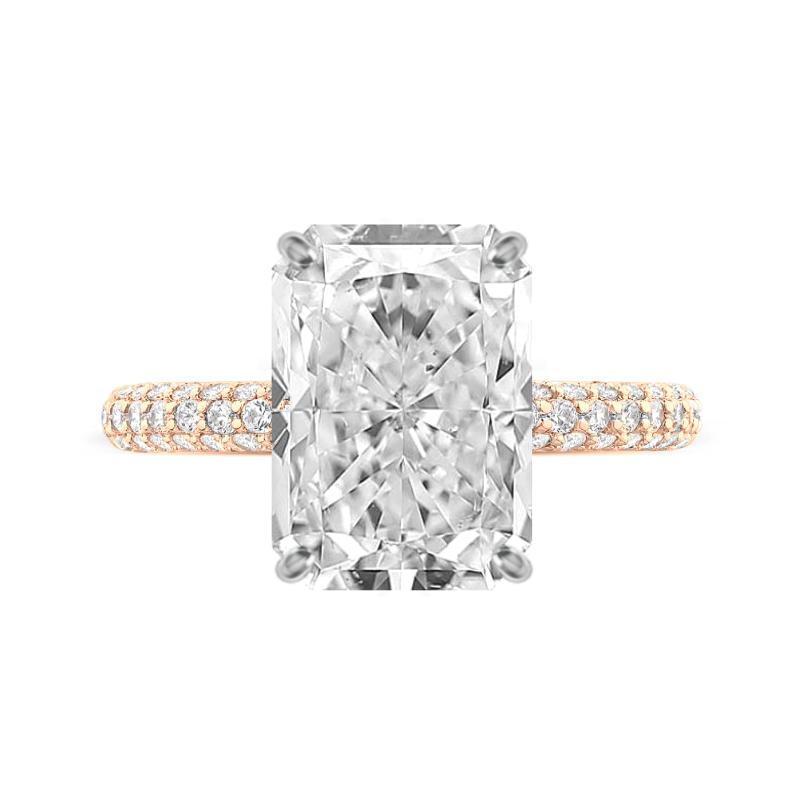 6 Carat Radiant Moissanite & Diamond Three Row Pave Ring