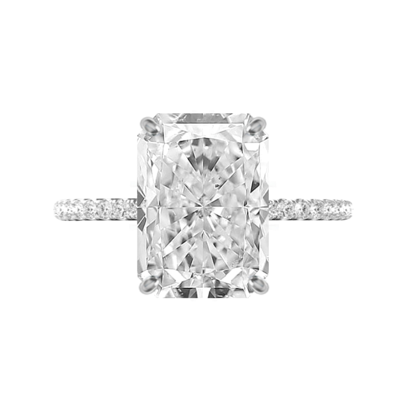 6 Carat Radiant Moissanite & Diamond Hidden Halo Ring