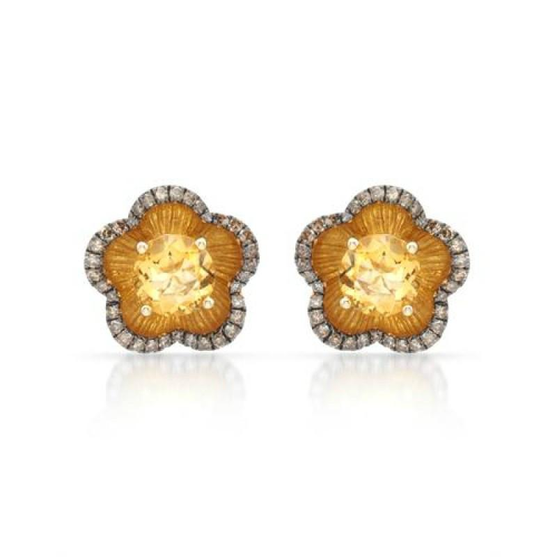 Citrine & Brown Diamond Flower Earrings
