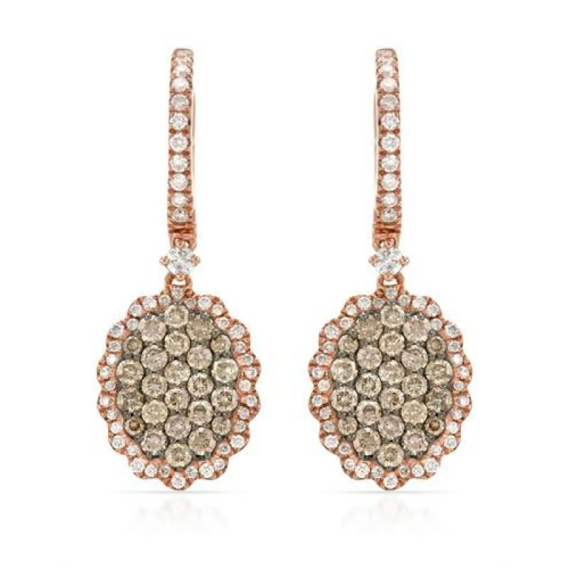White Diamond & Brown Diamond Cluster Earrings