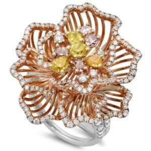 Fancy Diamond Cluster 18k Three Tone Ring