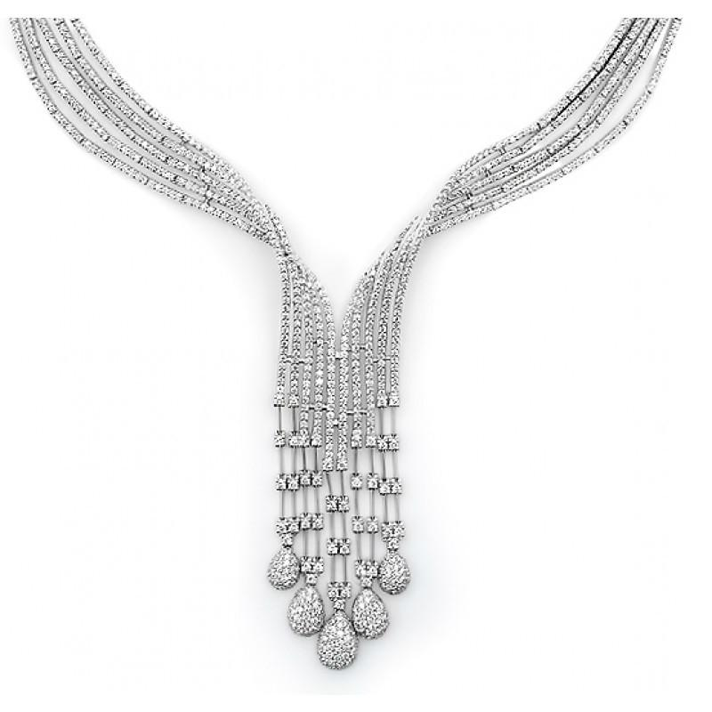 8.89 ctw Diamond Five Row Cascade Necklace