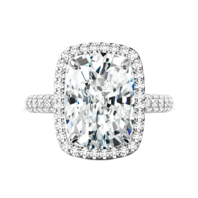 7 Carat Elongated Cushion Moissanite & Diamond Double Edge Halo Three Row Ring