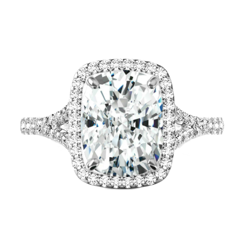 7 Carat Elongated Cushion Moissanite & Diamond Halo Split Shank Ring