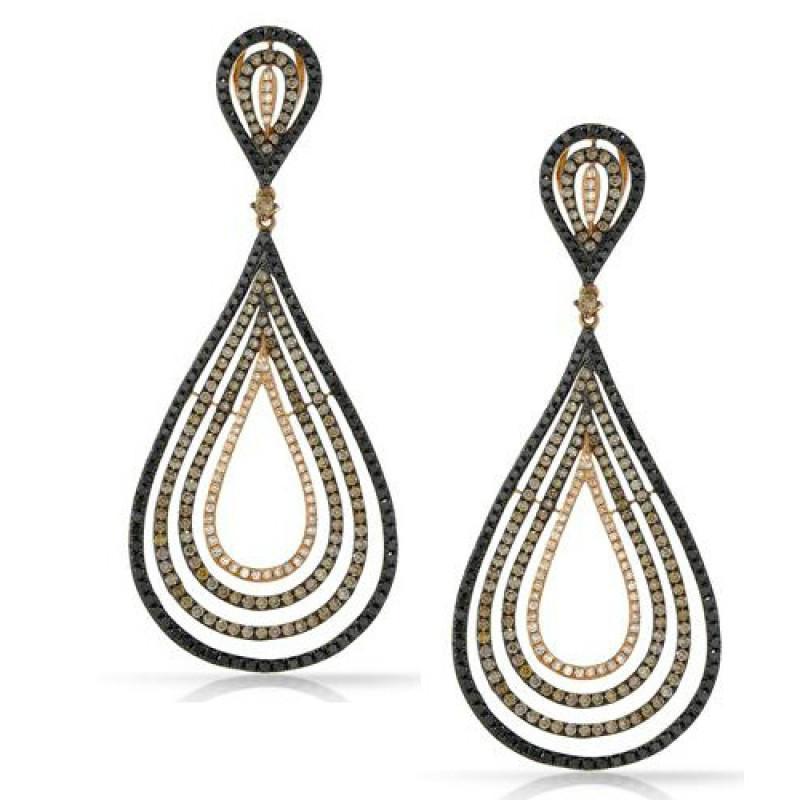 5.54 ctw Brown Diamond, Black Diamond & White Diamond Earrings