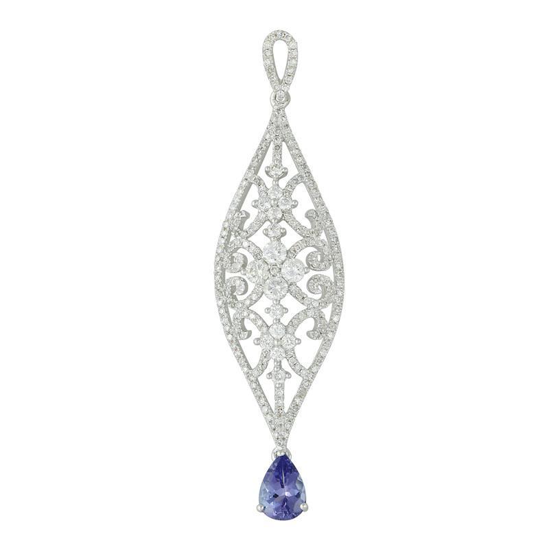 Tanzanite & Diamond Filigree Pendant