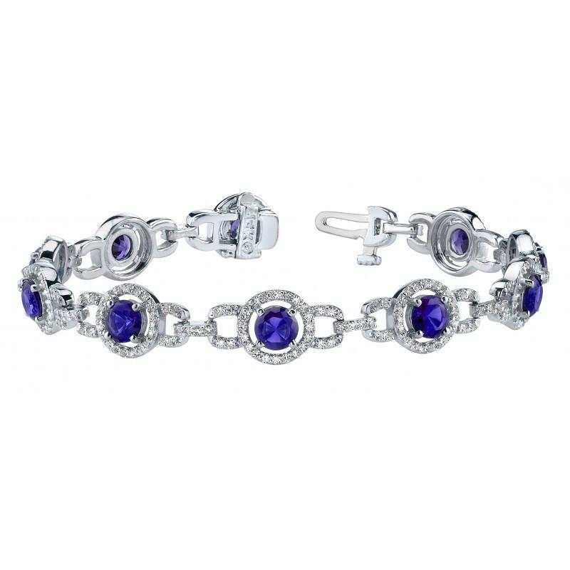 7.24 Carat Tanzanite & Diamond Tennis Bracelet