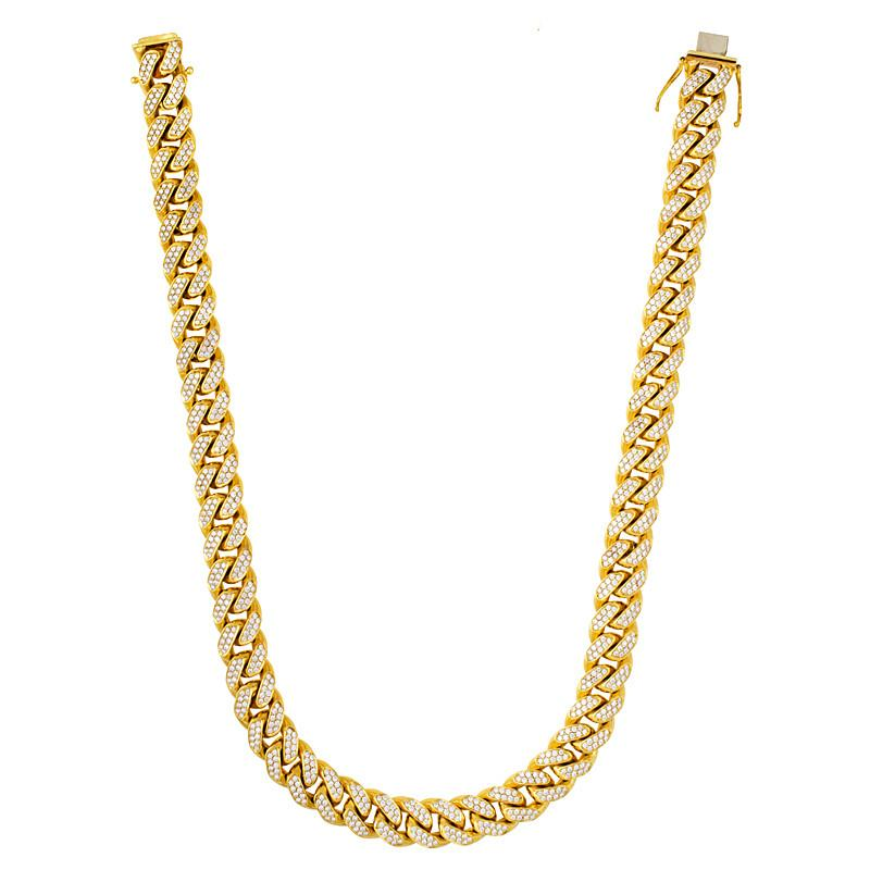 Solid 14k Yellow Gold Curb 33.00 Carat Diamond Pave Necklace (15mm)
