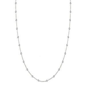Diamond Station Necklace 14k White Gold