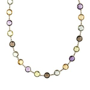 Gemstone Station Necklace 14k Yellow Gold