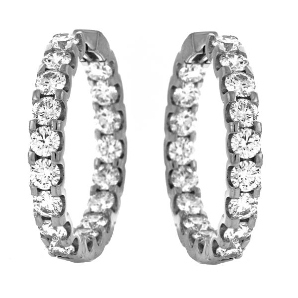 4.50 Carat Diamond Hoop Earrings 18k White Gold