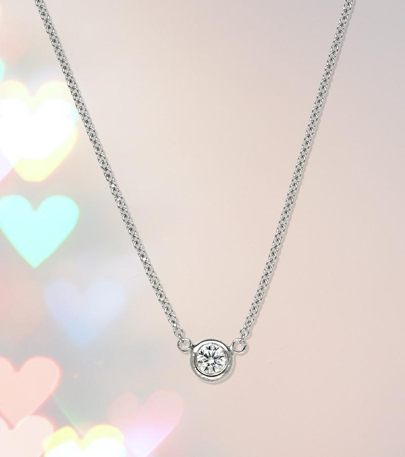 6.5mm Forever One Moissanite Bezel Necklace