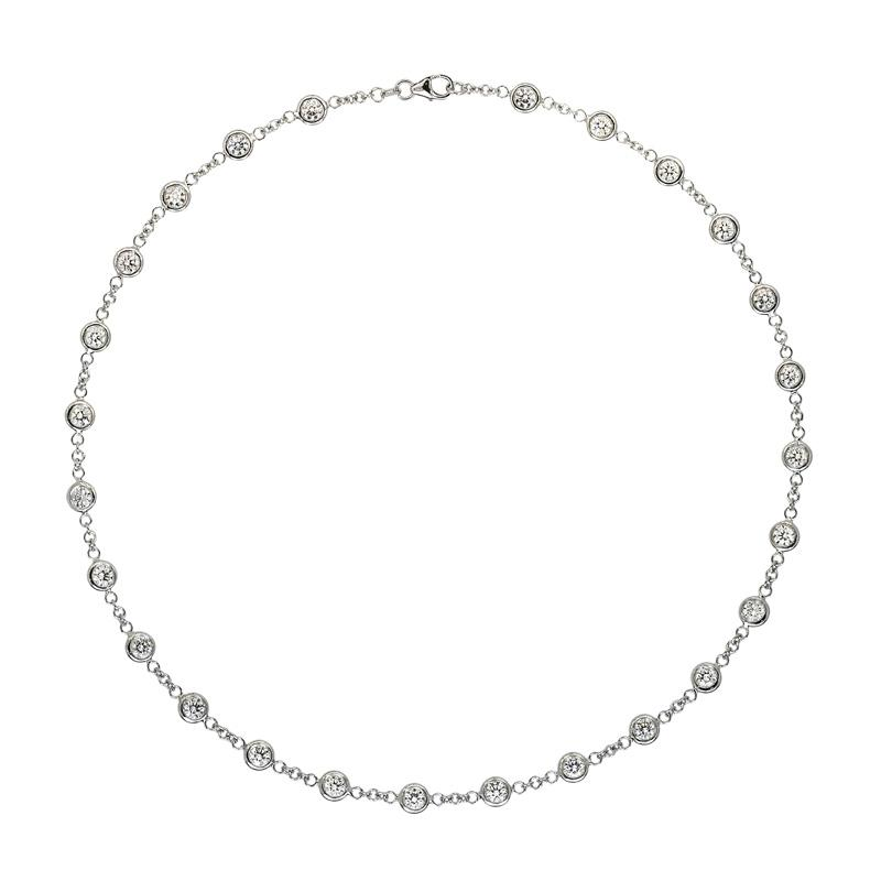 5.20 ctw Diamond Bezel Station Necklace
