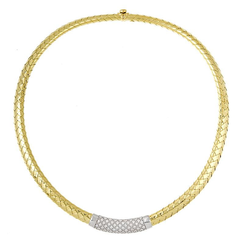 18k Yellow Gold Woven Necklace with Diamonds