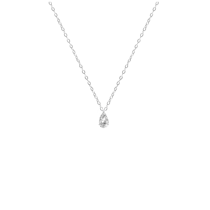 1 Carat Pear Diamond Solitaire Pendant Necklace
