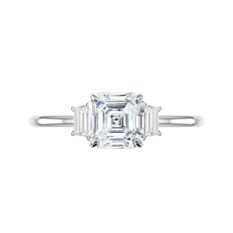 2 Carat Asscher Diamond & Trapezoid Three Stone Ring