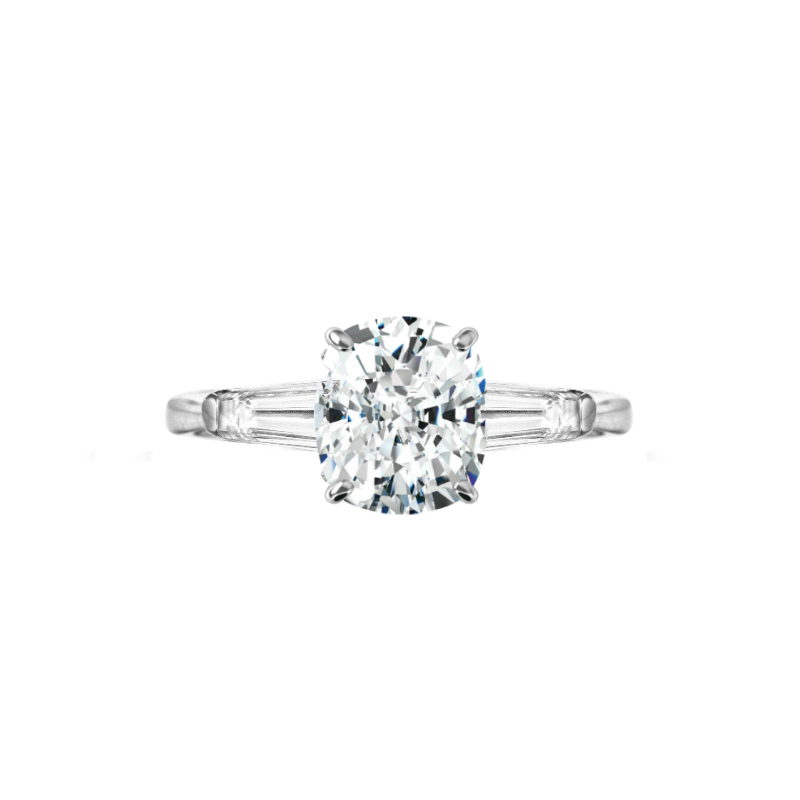 2 Carat Cushion Diamond & Baguette Three Stone Ring