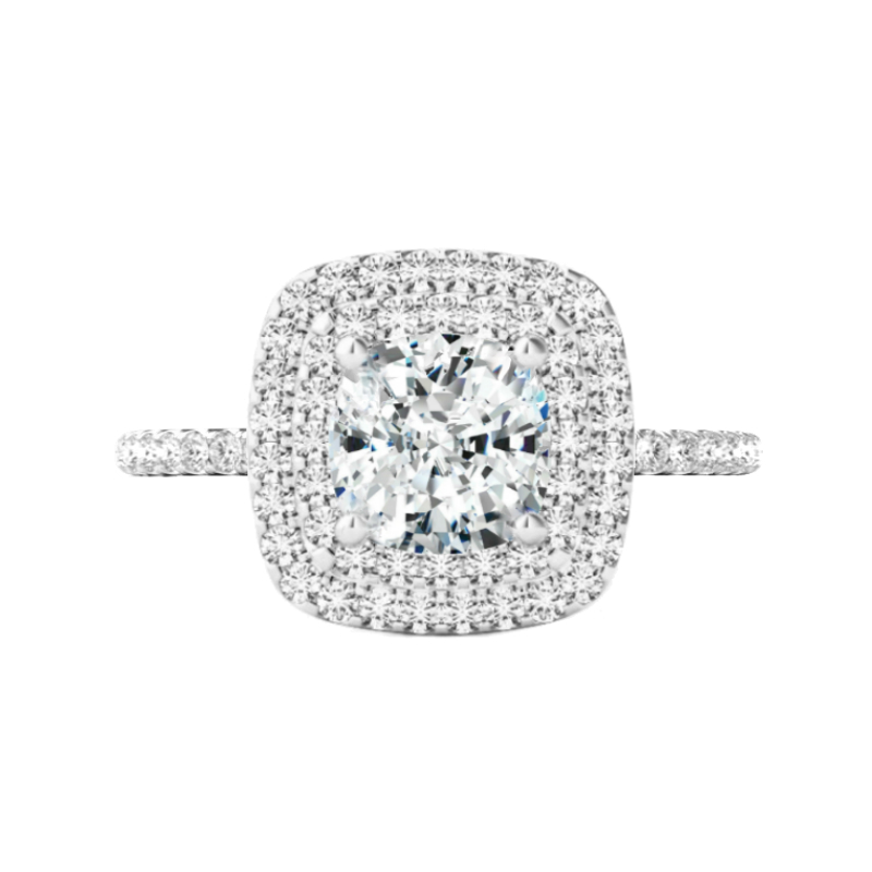2 Carat Cushion Lab Grown Diamond & Double Halo Ring