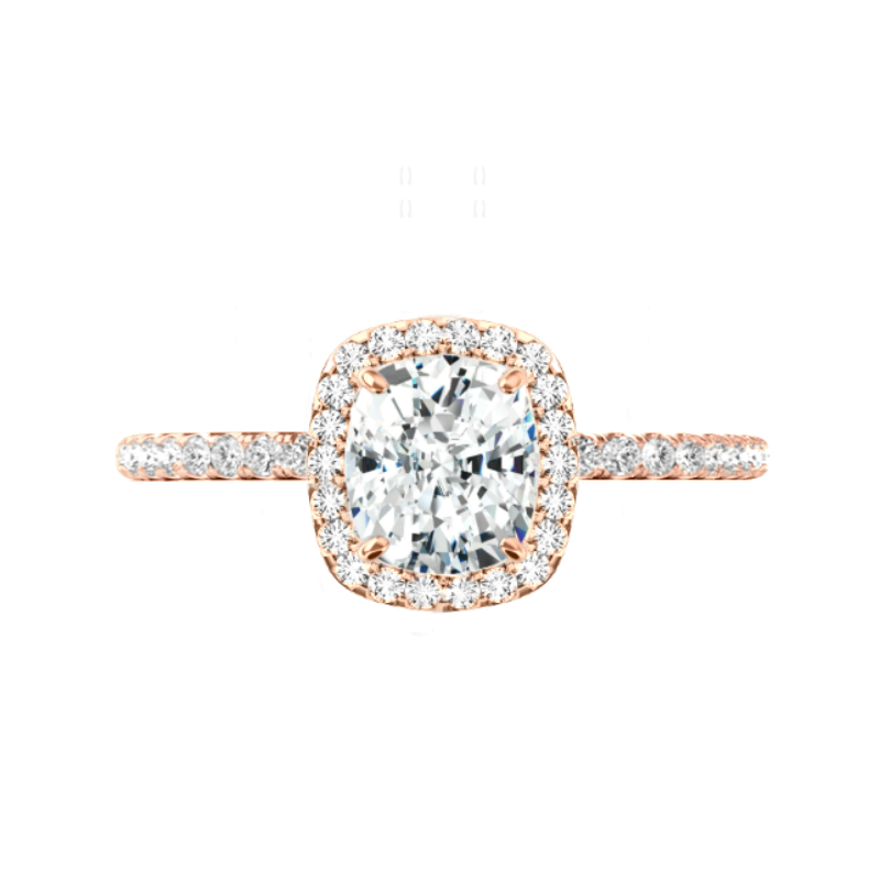 2 ct Cushion Diamond & Halo Engagement Ring Rose Gold