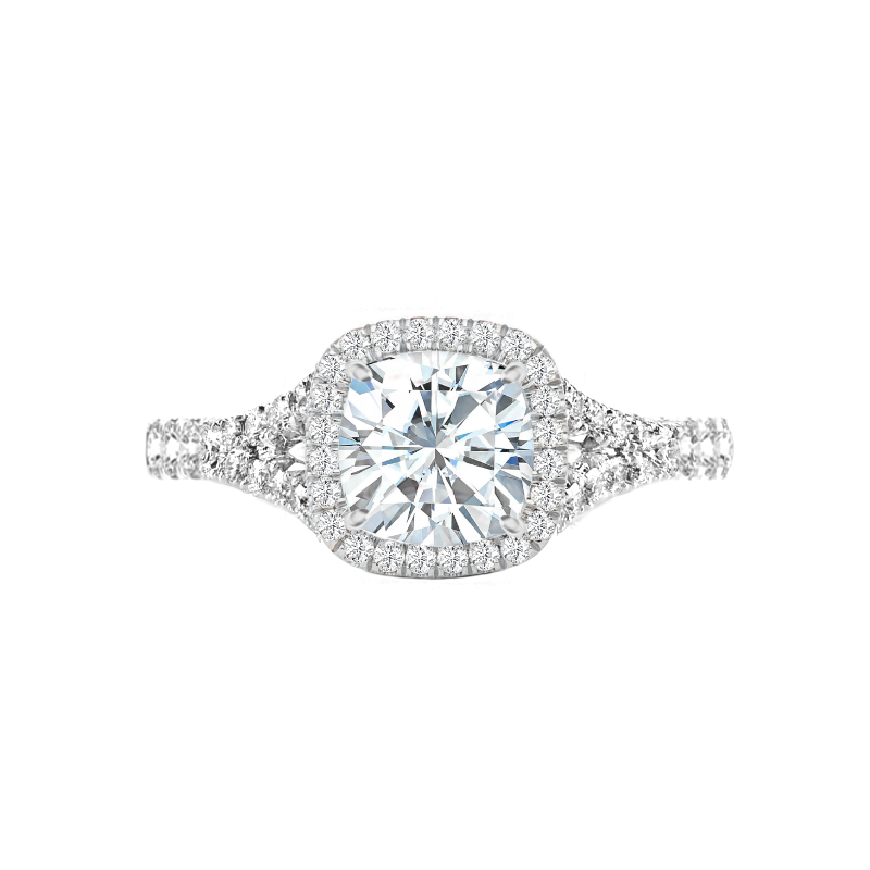 2 Carat Cushion Moissanite & Diamond Halo Split Shank Ring