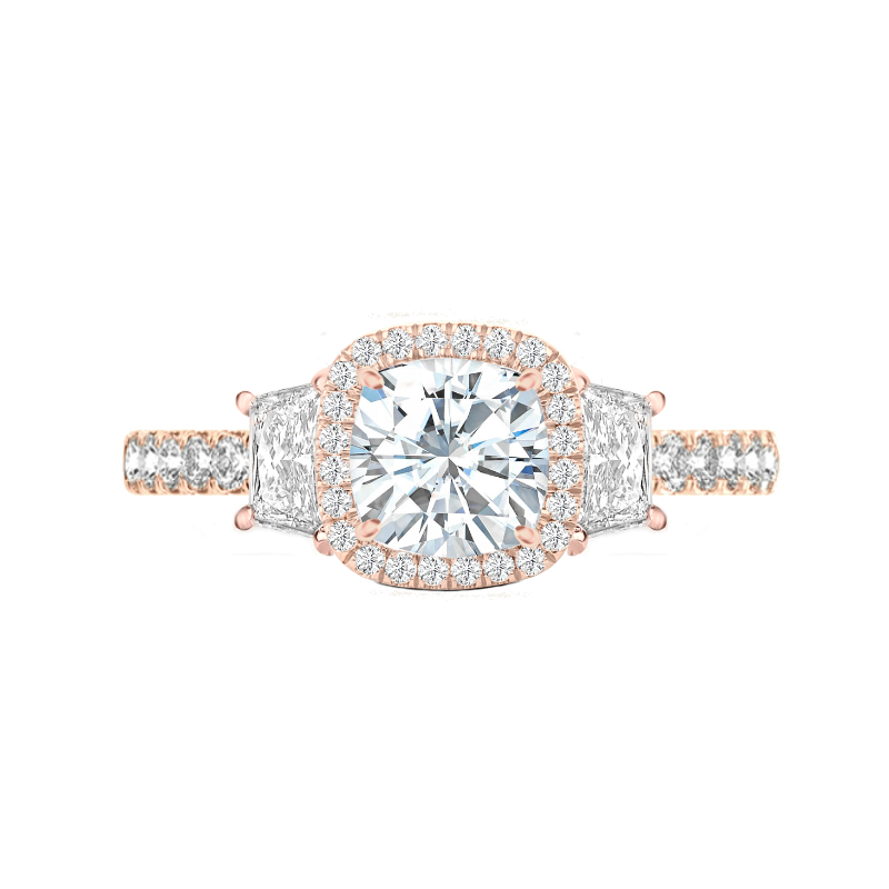 2.20 Carat Cushion Moissanite & Diamond Halo Trapezoid Ring