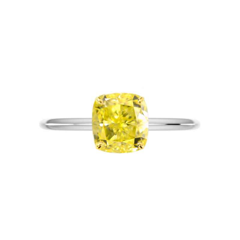 2 Carat Cushion Fancy Intense Yellow Diamond Knife Edge Solitaire
