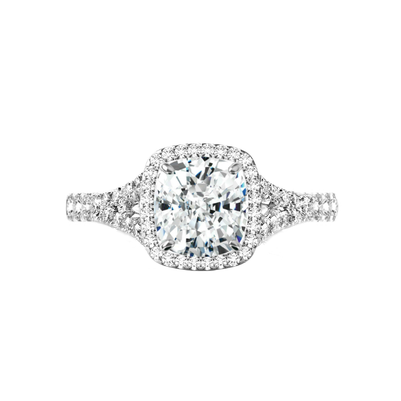 2 Carat Elongated Moissanite & Diamond Halo Split Shank Ring