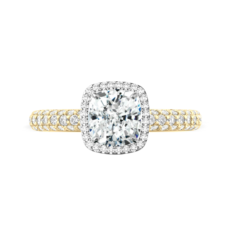2 Carat Elongated Cushion Moissanite & Double Edge Halo Three Row Ring