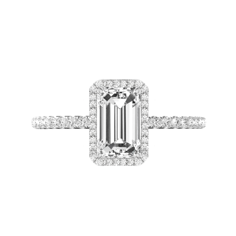 2 Carat Elongated Emerald Moissanite & Diamond Double Edge Halo Ring