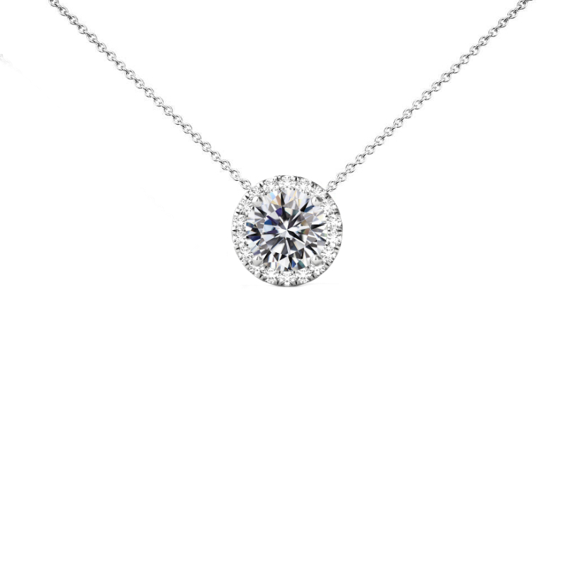 2 Carat Round Diamond & Halo Necklace
