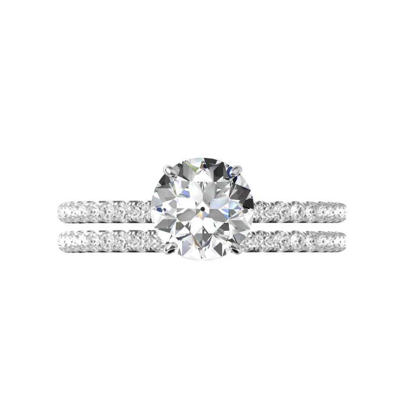 2 Carat Old European Cut Moissanite & Diamond Hidden Halo Wedding Set