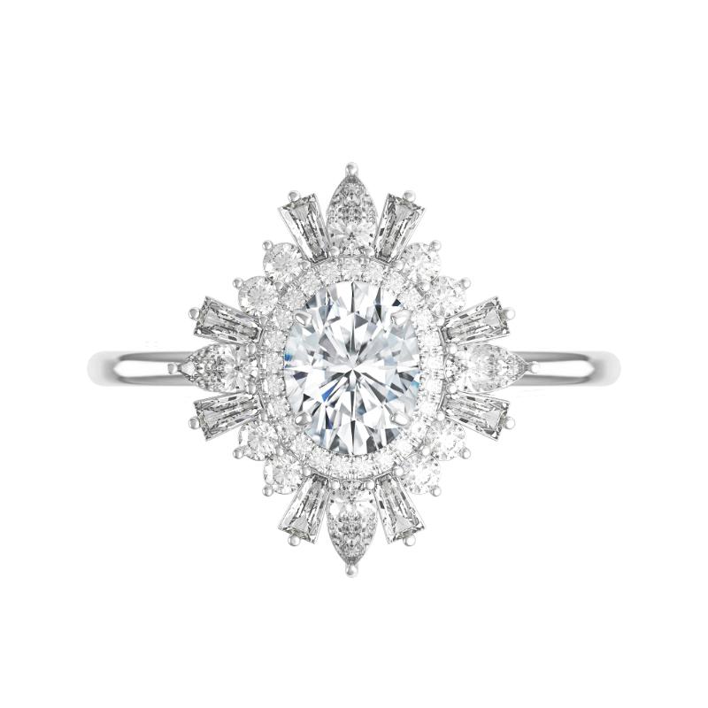 2 Carat Oval Moissanite & Diamond Art Deco Halo Ring