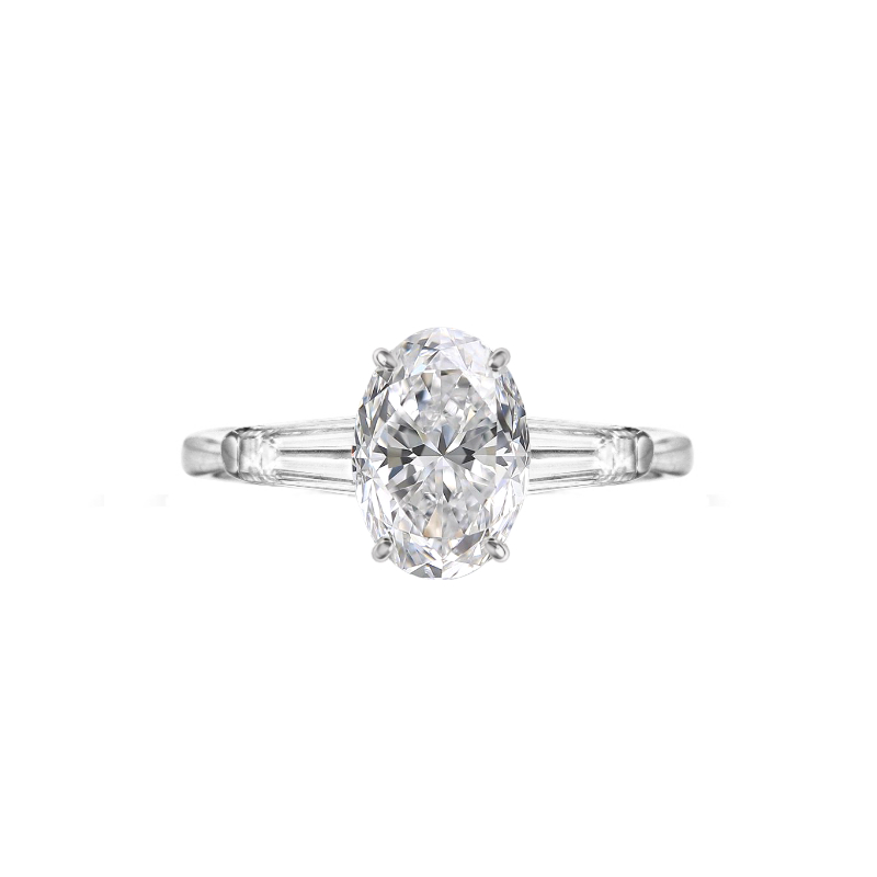 2 Carat Oval Diamond & Baguette Three Stone Ring