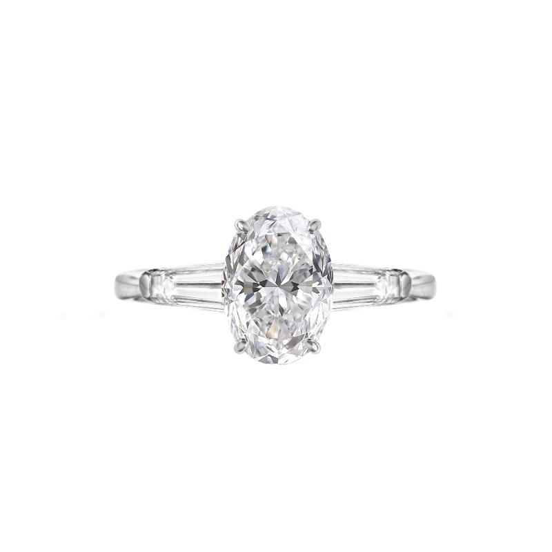 2 Carat Oval Diamond & Baguette Three Stone Ring