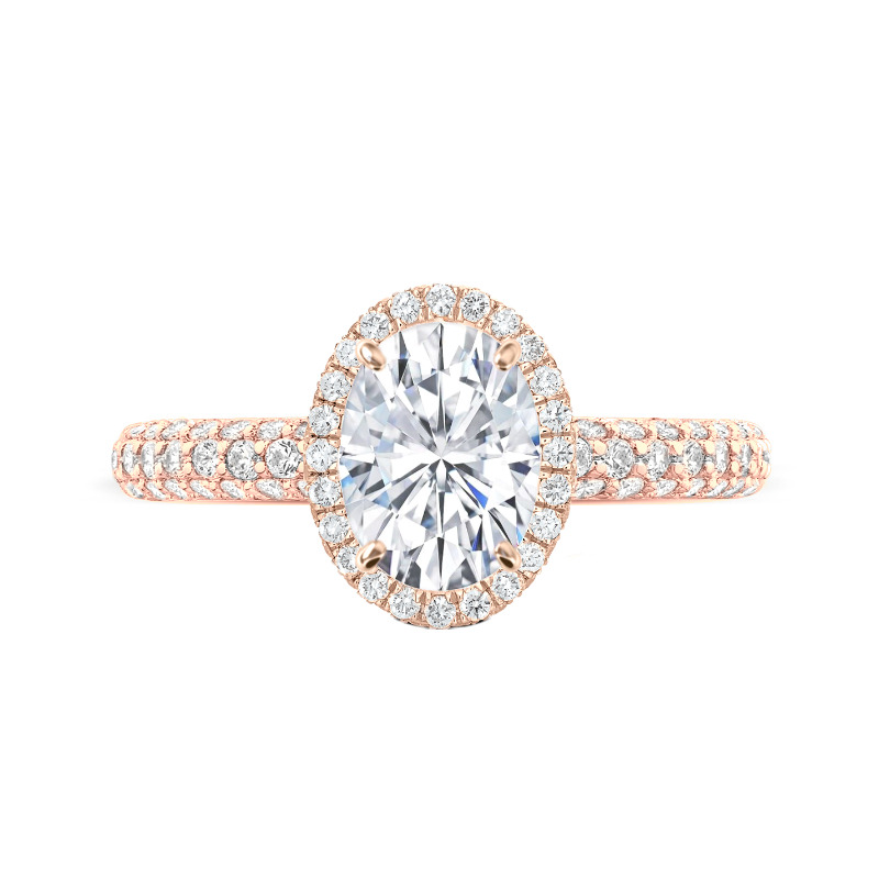 2 Carat Oval Moissanite & Diamond Double Edge Halo Three Row Pave Ring