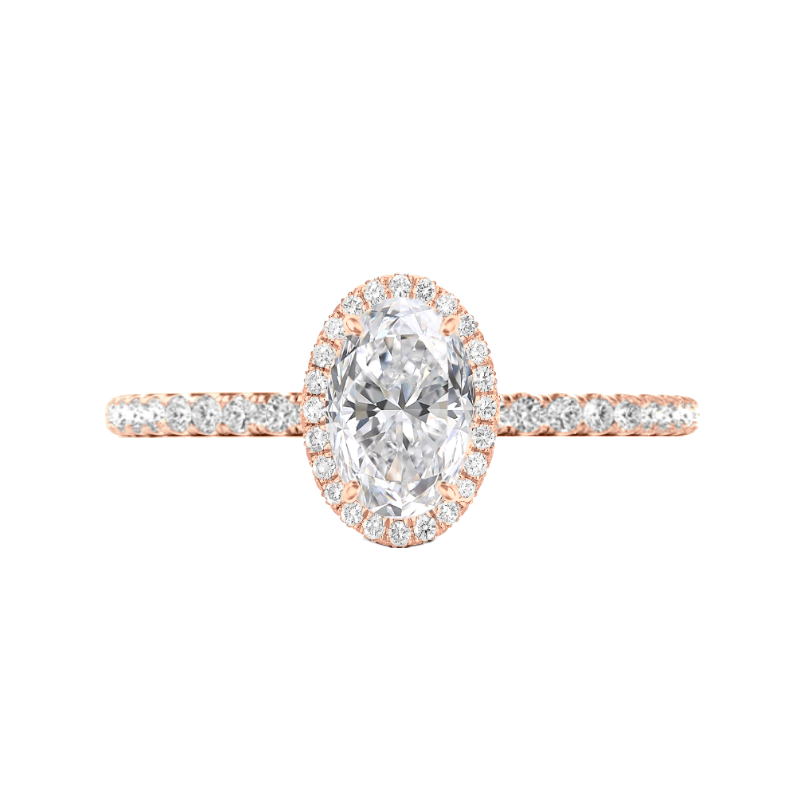 2 Carat Oval Moissanite & Diamond Double Edge Halo Ring
