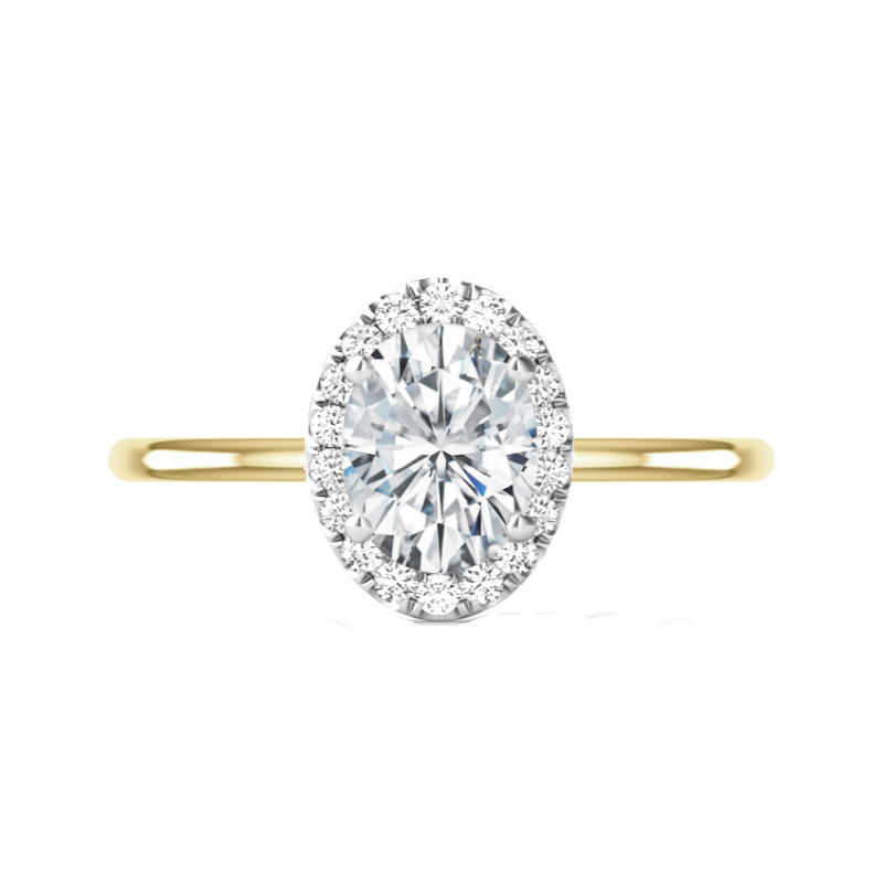 2 Carat Oval Moissanite & Diamond Halo Two Tone Solitaire