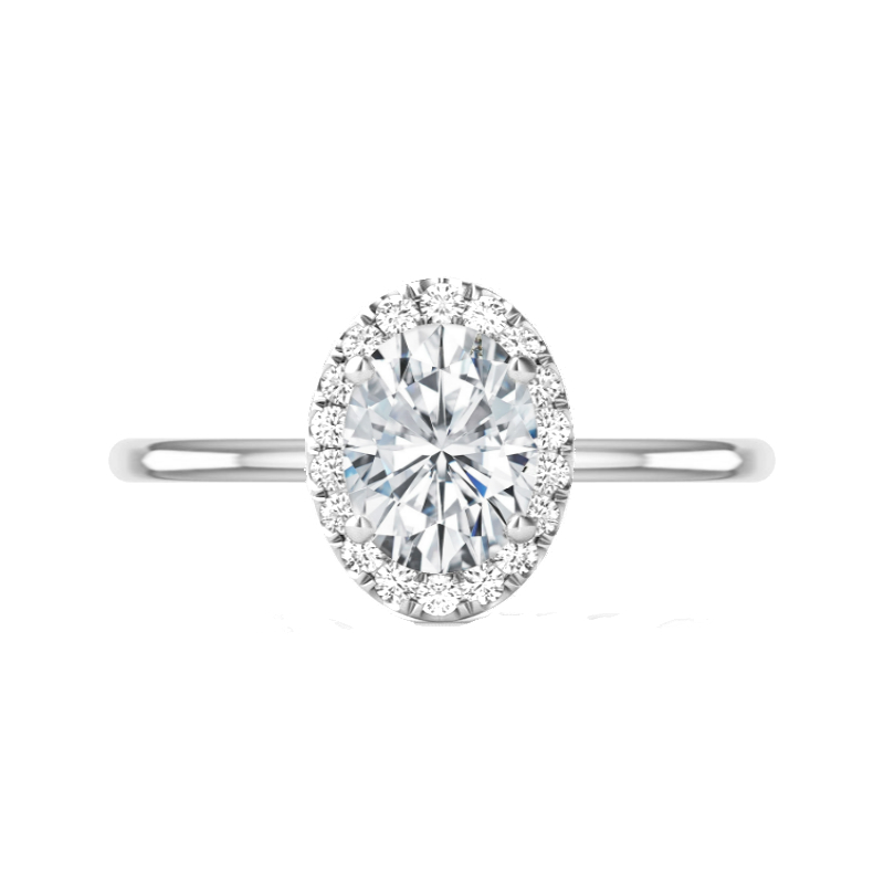 2 Carat Oval Moissanite & Diamond Halo Solitaire Ring