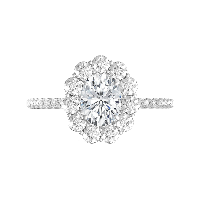 2 Carat Oval Moissanite & 3mm Diamond Cluster Halo Ring