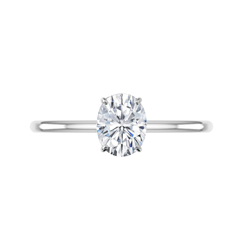 2 Carat Oval Forever One Moissanite Solitaire Ring