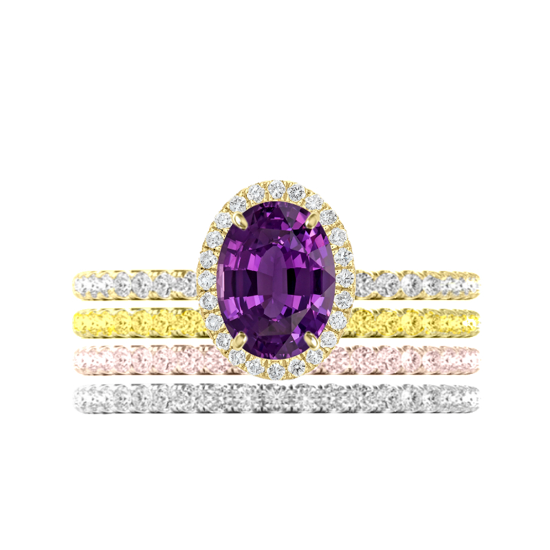 2.00 Purple Sapphire Ring & Tri-Color Diamond Stackable Bands