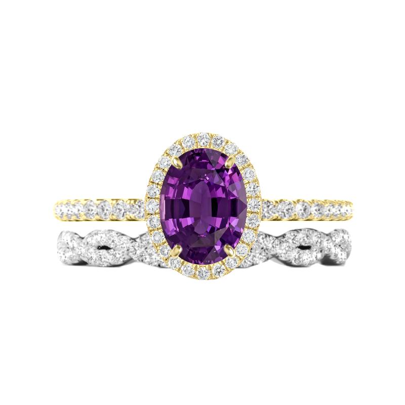2.00 Oval Purple Sapphire Ring & Diamond Braided Band