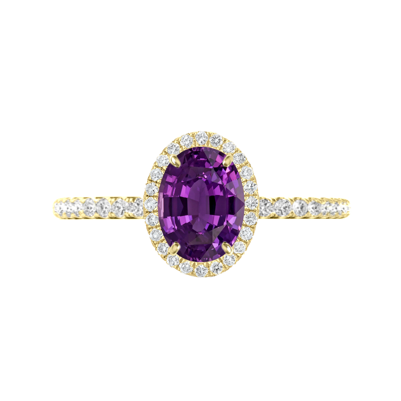 2.00 Oval Purple Sapphire & Diamond Halo Ring