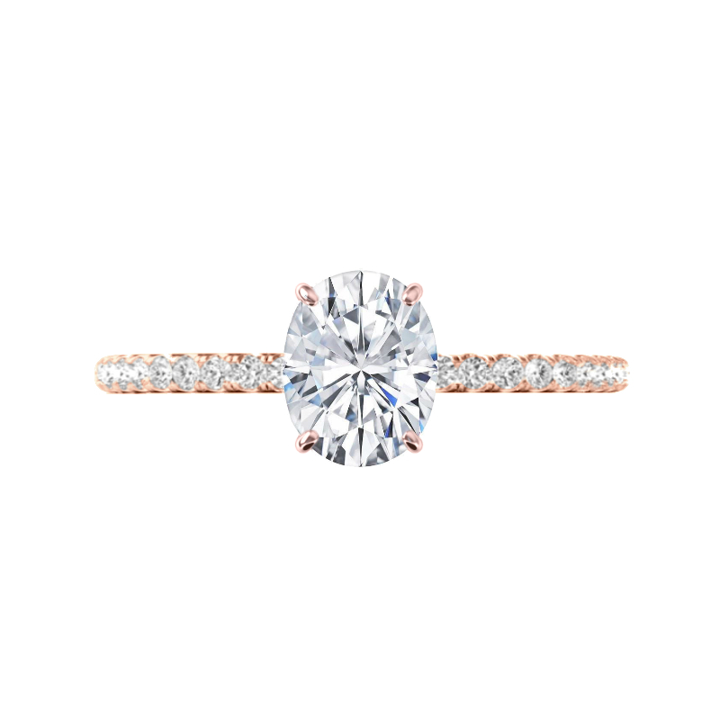 2 Carat Oval Forever One Moissanite & Diamond Hidden Halo Ring